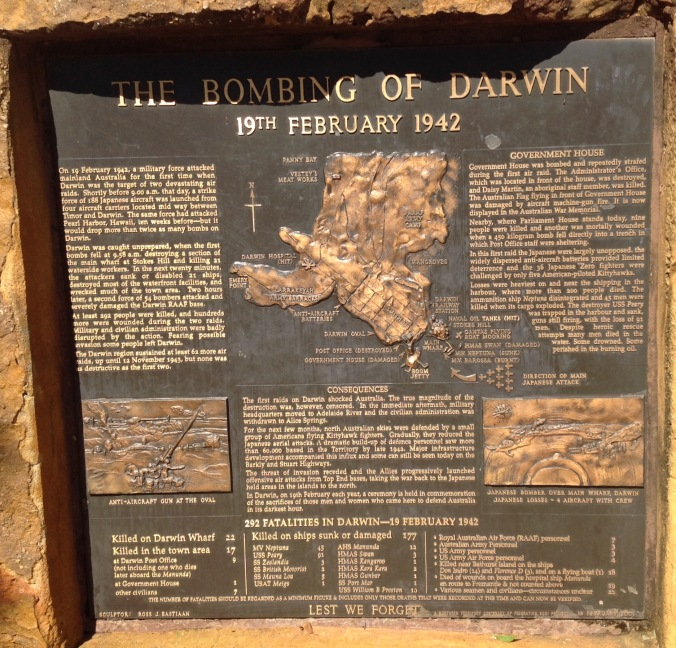 A plaque detailing the first bombing of Darwin on 19th February 1942. Click on the image to enlarge