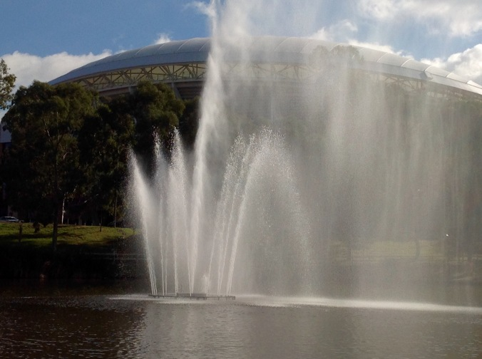 The Torrens Lake Fountain commemorates the first time South Australia was visited by a reigning monarch, Queen Elizabeth II in 1954.