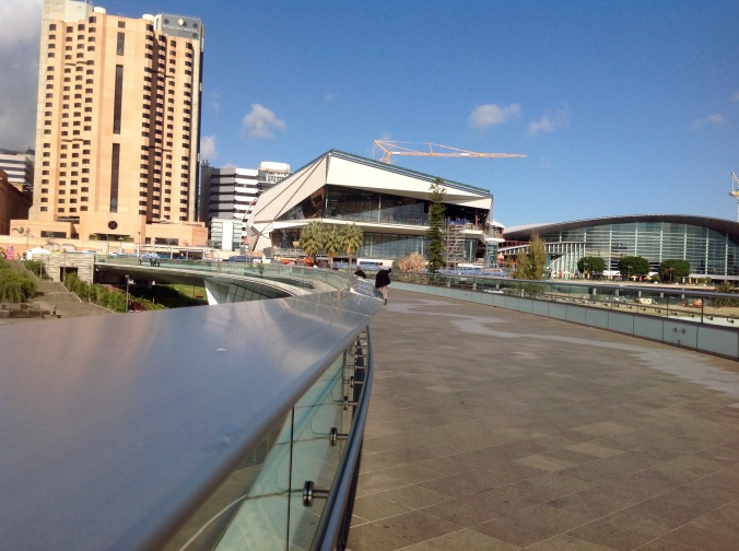 THEN WE WALKED BACK OVER THE NEW (2014) ADELAIDE TORRENS RIVERBANK FOOTBRIDGE, HEADING BACK TO THE CBD