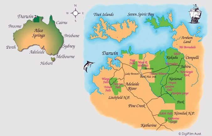Map demonstrating Kakadu National Park in relation to Darwin and the top end of Northern Territory