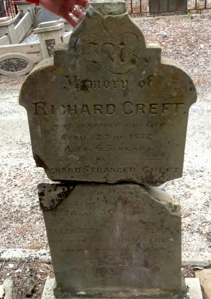 Richard Creft born 1809 St. Budeaux, Plymouth, Devon; died 1872 Geelong, Victoria