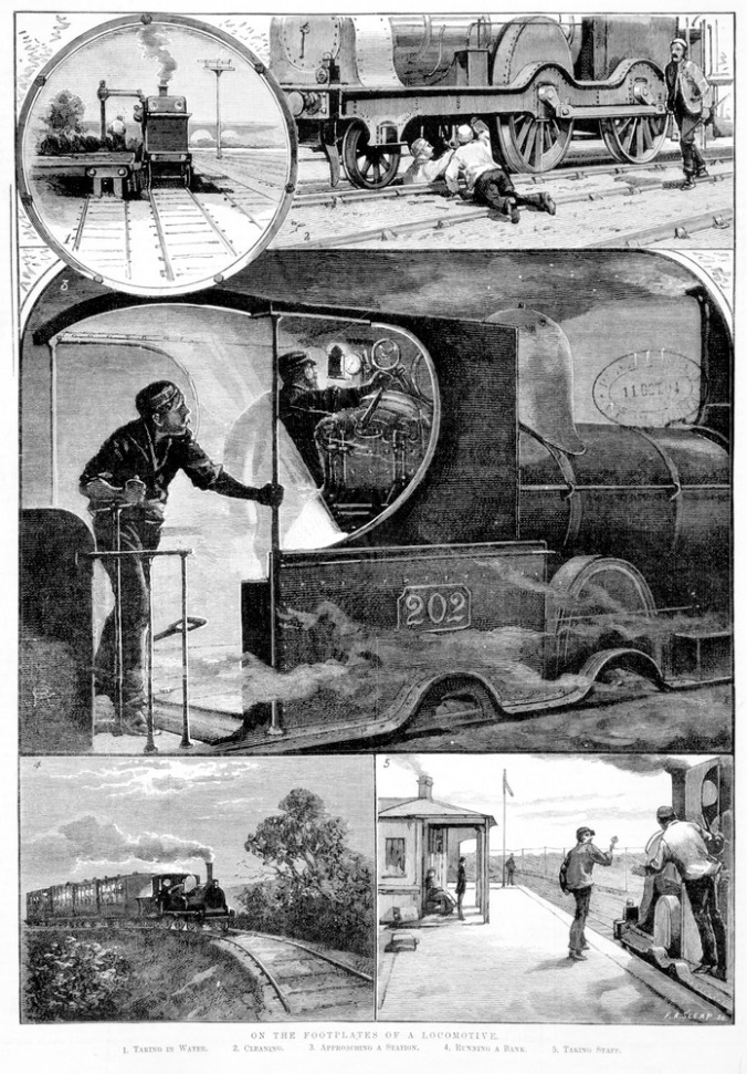 On the Footplates of a locomotive, Creator Sleap, F. A, Artwork 1885. Source State Library of Victoria